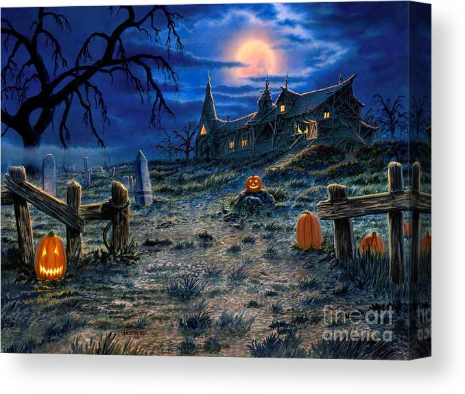 Halloween Canvas Print featuring the painting The Haunted House by Stu Shepherd