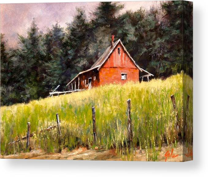 Landscape Canvas Print featuring the painting The Red Coach Stop by Jim Gola