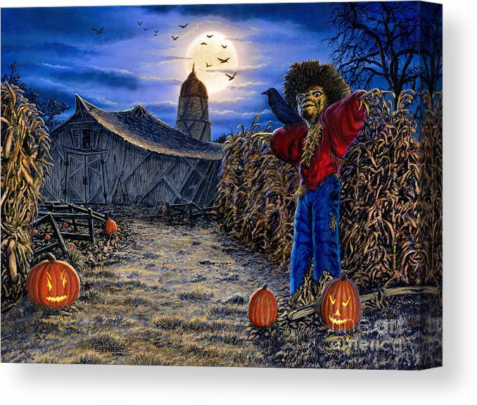 Halloween Canvas Print featuring the painting The Spooky Scarecrow by Stu Shepherd