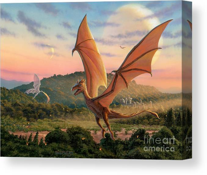 Dragon Canvas Print featuring the painting The Training Fields by Stu Shepherd