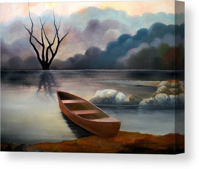 Duck Canvas Print featuring the painting Tranquility by Sergey Bezhinets