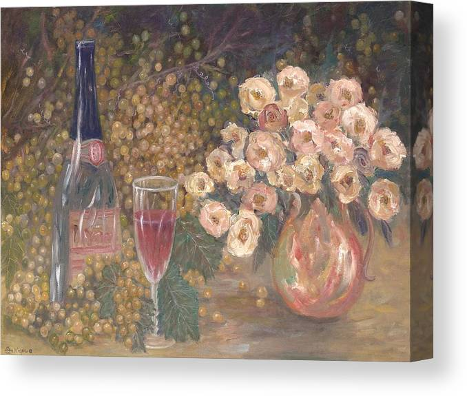 Stilllife; Floral; Wine Canvas Print featuring the painting Wine And Roses by Ben Kiger