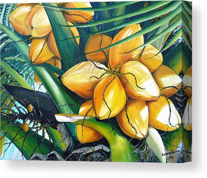 Coconut Painting Botanical Painting  Tropical Painting Caribbean Painting Original Painting Of Yellow Coconuts On The Palm Tree Canvas Print featuring the painting Yellow Coconuts by Karin Dawn Kelshall- Best