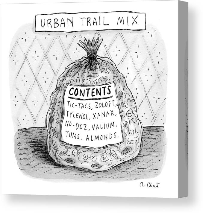 Bag Canvas Print featuring the drawing Urban Trail Mix by Roz Chast