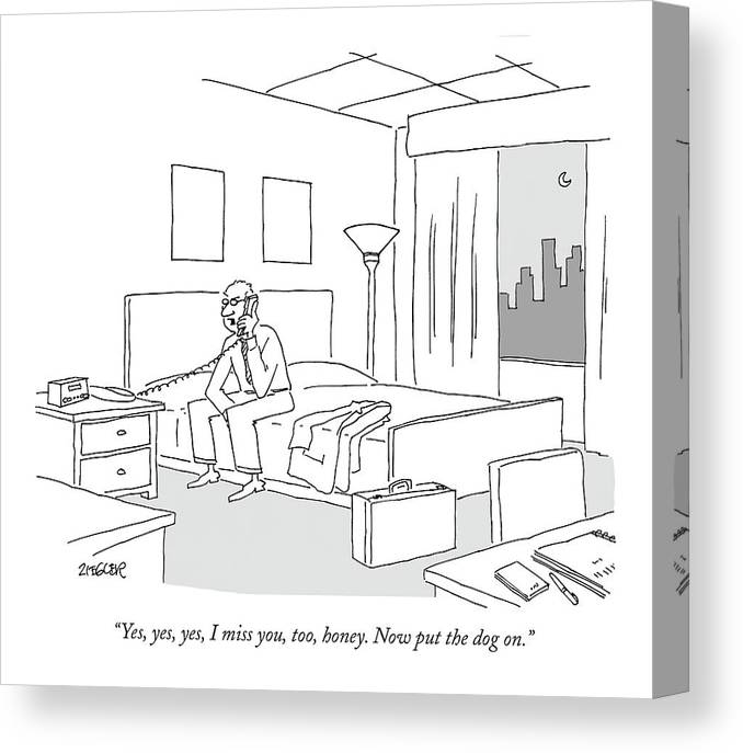 Relationships Pets Travel Problems  (businessman Sitting On A Bed In Hotel Room Talking On The Phone.) 121246 Jzi Jack Ziegler Topziegler Canvas Print featuring the drawing Businessman Sitting On A Bed In Hotel Room by Jack Ziegler