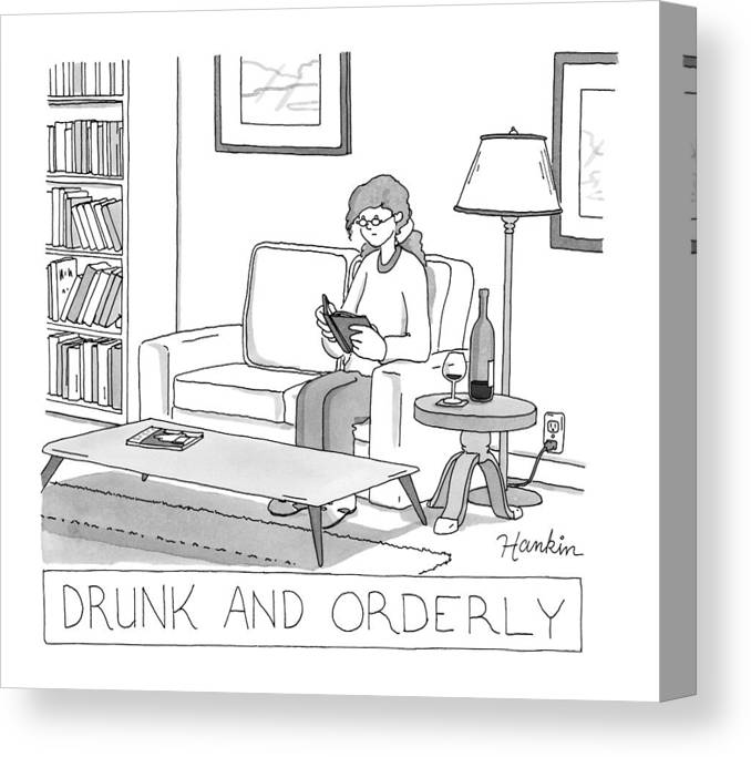 Captionless Canvas Print featuring the drawing Drunk And Orderly -- A Woman Reads A Book by Charlie Hankin