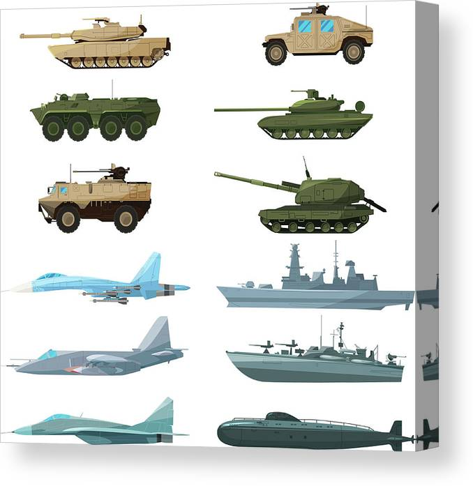 Insect Canvas Print featuring the digital art Naval Vehicles, Airplanes And Different by Onyxprj