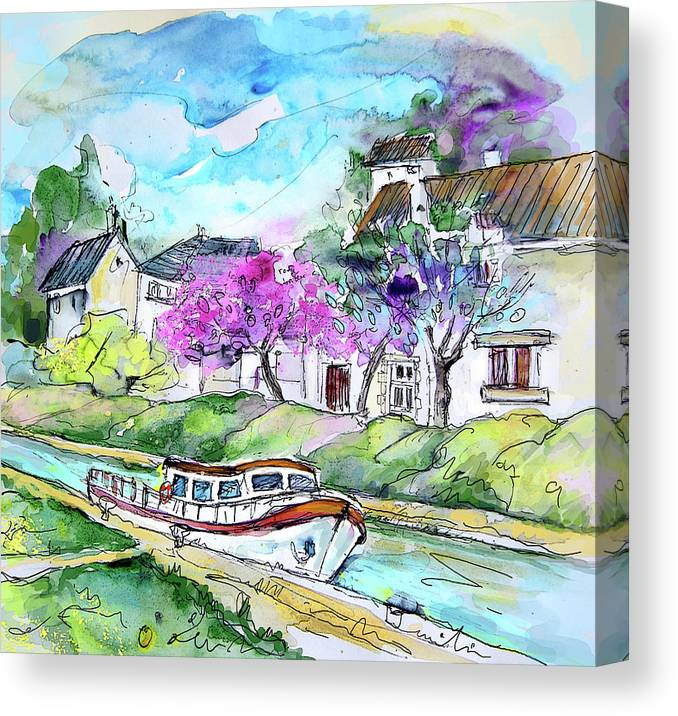 Travel Canvas Print featuring the painting Ouzouer Sur Trezee In France 01 by Miki De Goodaboom