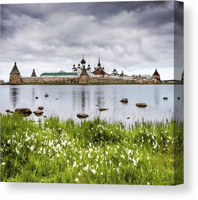 Grass Canvas Print featuring the photograph Solovetsky Monastery At Holy Lake by Mordolff