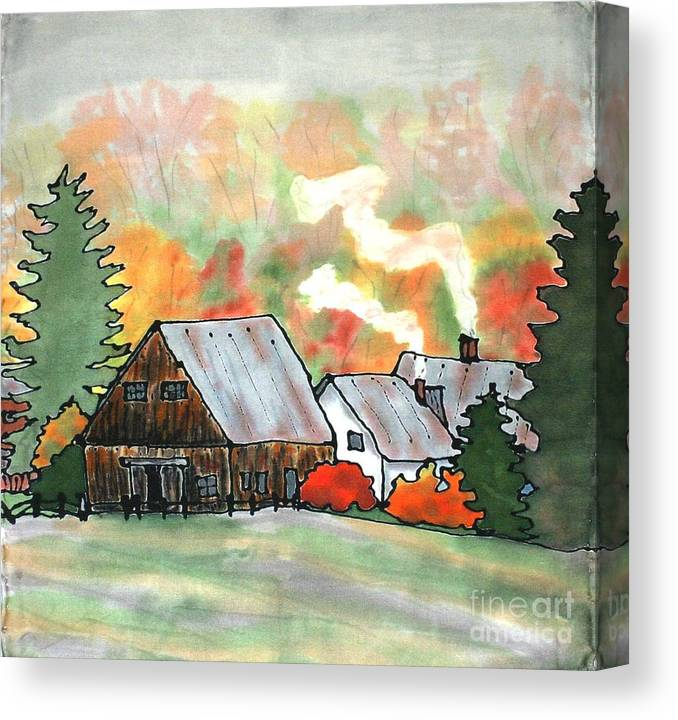Vermont Canvas Print featuring the painting Autumn Chill Silk Painting by Linda Marcille