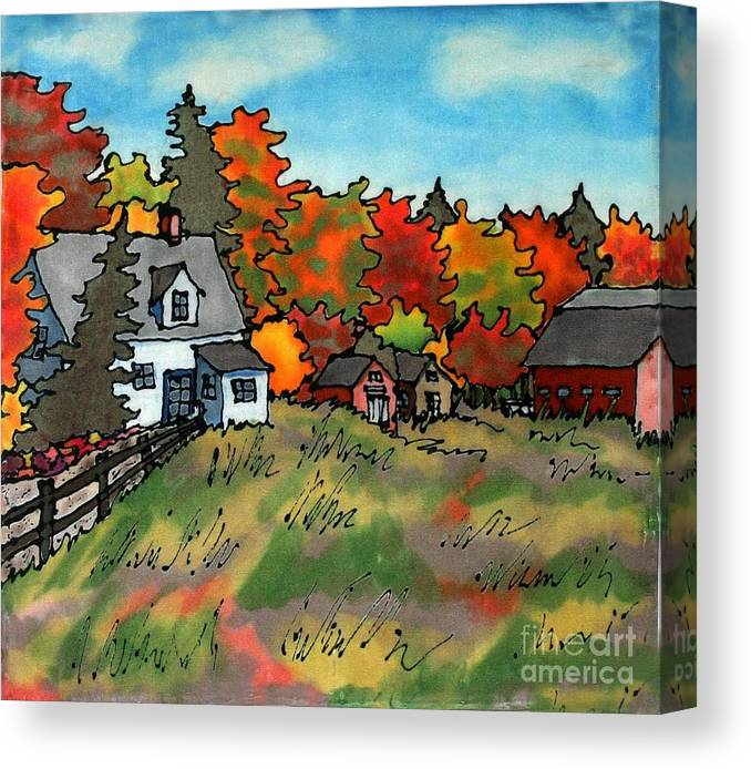 Fall Canvas Print featuring the painting Autumn Farmstead Silk Painting by Linda Marcille