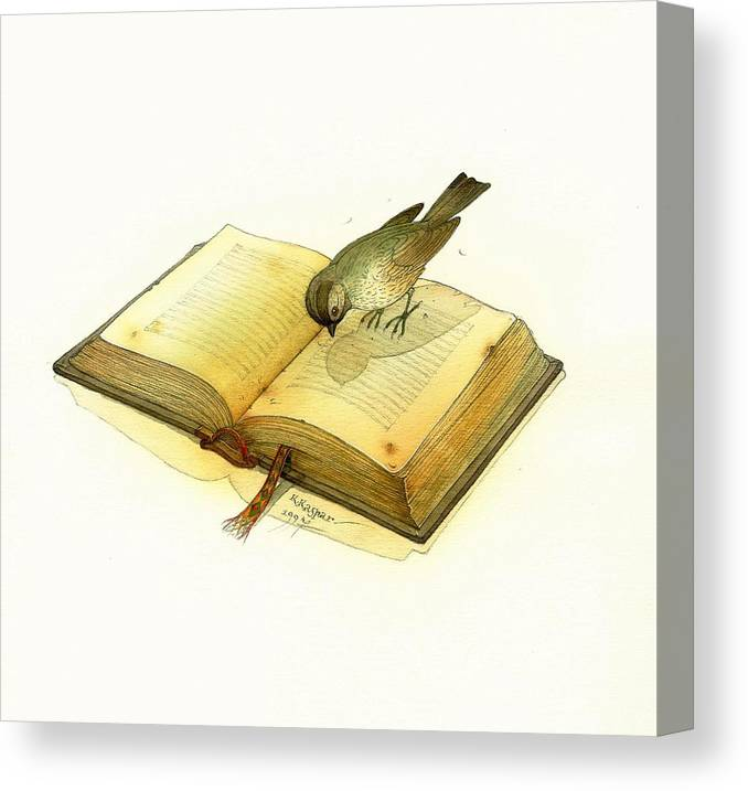 Book Bird Canvas Print featuring the painting Bird and Book by Kestutis Kasparavicius
