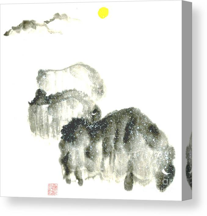 A Herd Of Bison Grazing In Snow. This Is A Contemporary Chinese Ink And Color On Rice Paper Painting With Simple Zen Style Brush Strokes.  Canvas Print featuring the painting Bison In Snow II by Mui-Joo Wee