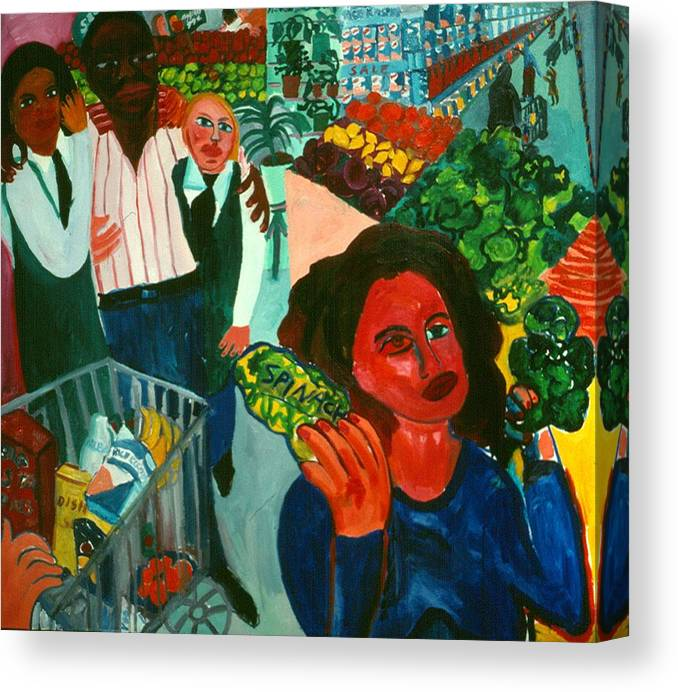 Self-portait In Urban Supermarket Canvas Print featuring the painting Broccoli or Spinach by Nina Talbot