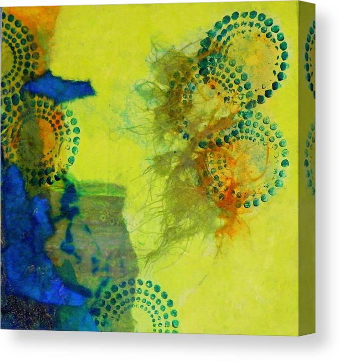 Mixed Media Canvas Print featuring the painting Circles 5 by Tara Milliken