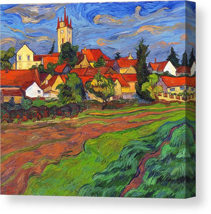 Landscape Canvas Print featuring the painting Country with the red roofs by Vitali Komarov