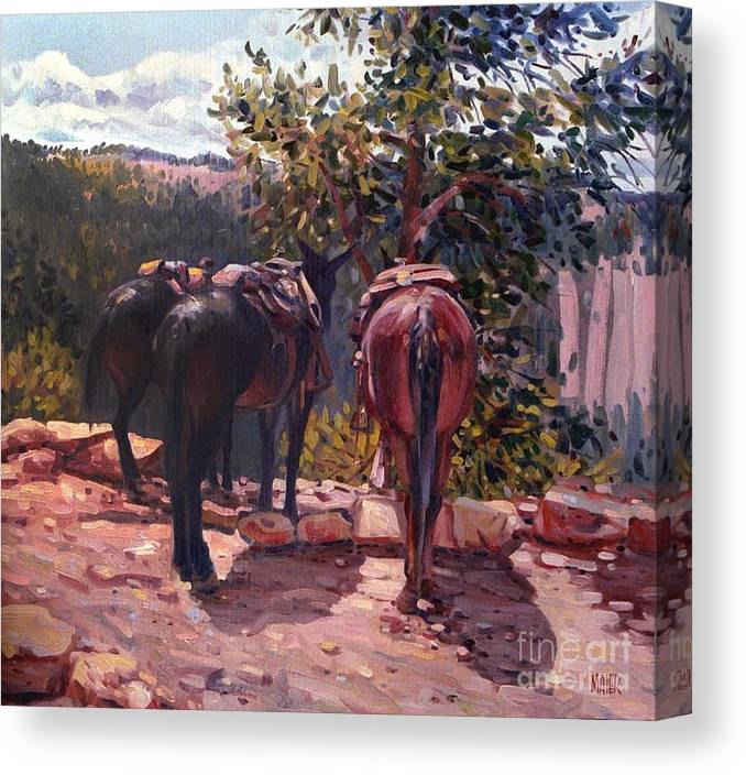 Mules Canvas Print featuring the painting Resting on the Kaibab Trail by Donald Maier