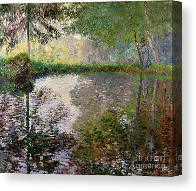 The Lake At Montgeron By Claude Monet (1840-1926) Canvas Print featuring the painting The Lake at Montgeron by Claude Monet