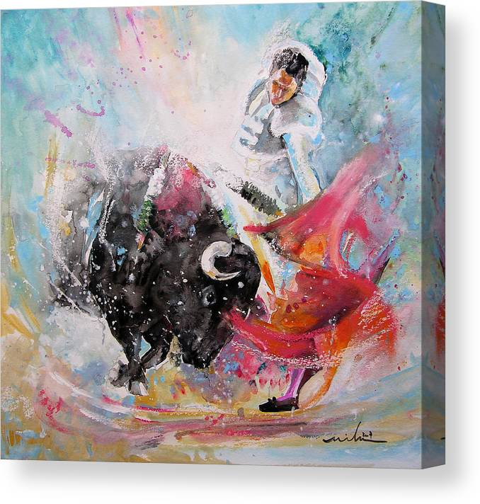 Animals Canvas Print featuring the painting Toro Tempest by Miki De Goodaboom