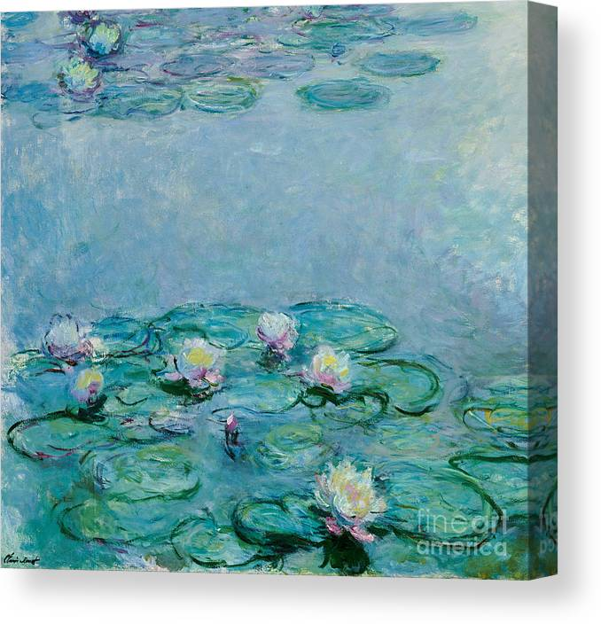 French Canvas Print featuring the painting Water Lilies by Claude Monet