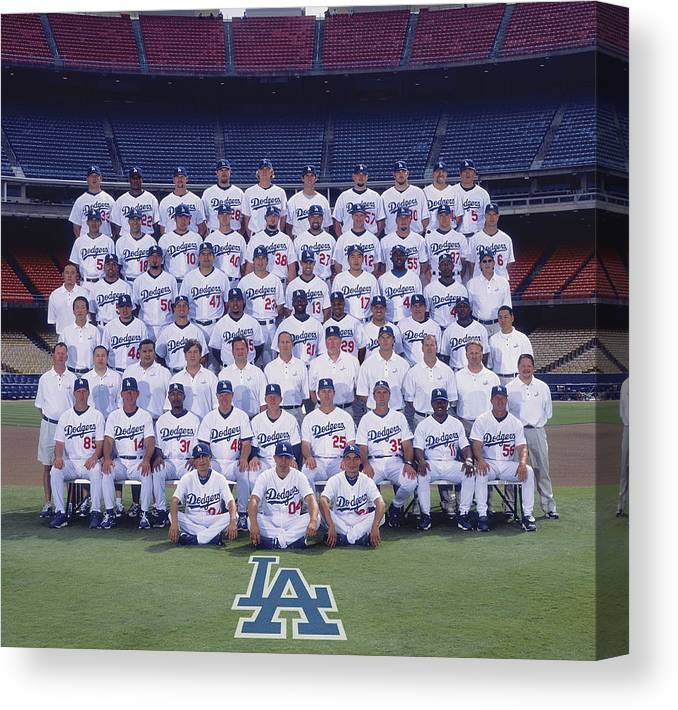 California Canvas Print featuring the photograph 2004 Los Angeles Dodgers Team Photo by Mlb Photos