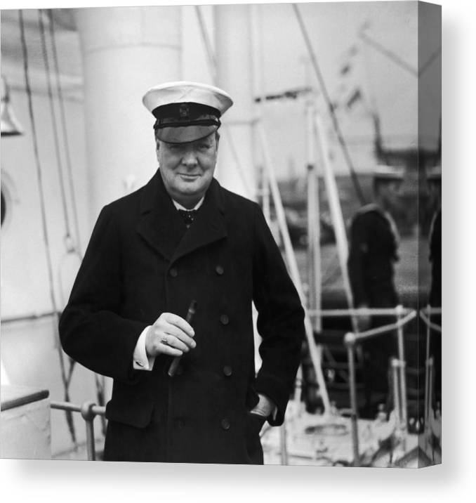 People Canvas Print featuring the photograph Churchill On Ship by Topical Press Agency