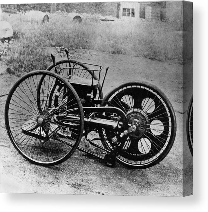 Engine Canvas Print featuring the photograph First Motorcycle by Hulton Archive