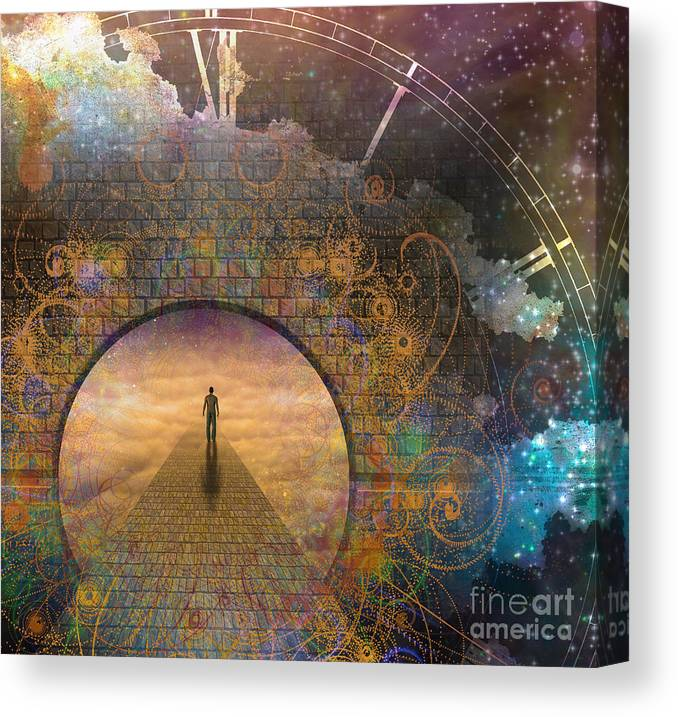 Door Canvas Print featuring the digital art Man On Path And Doorway With Aged Clock by Bruce Rolff