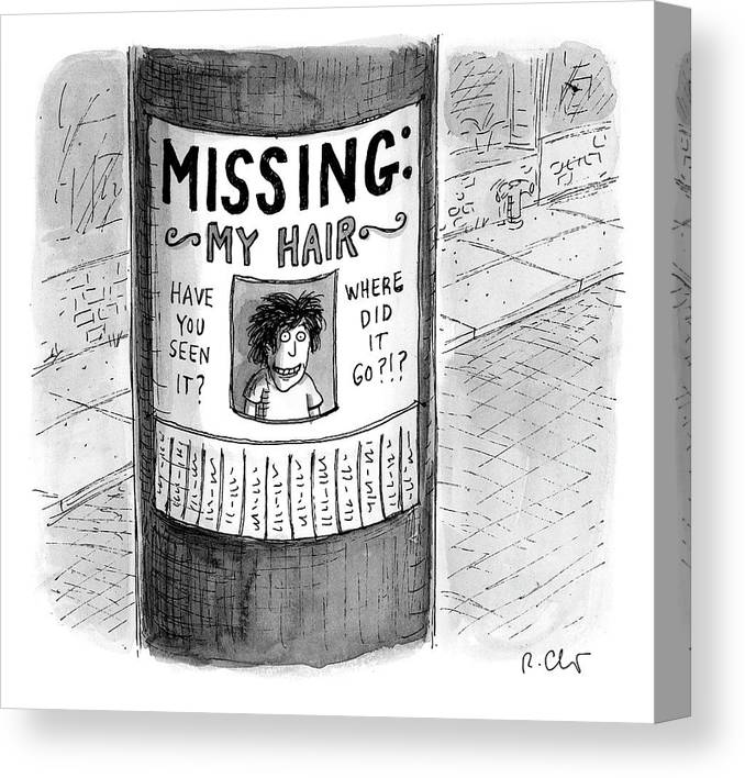 Hair Loss Canvas Print featuring the drawing My Hair by Roz Chast