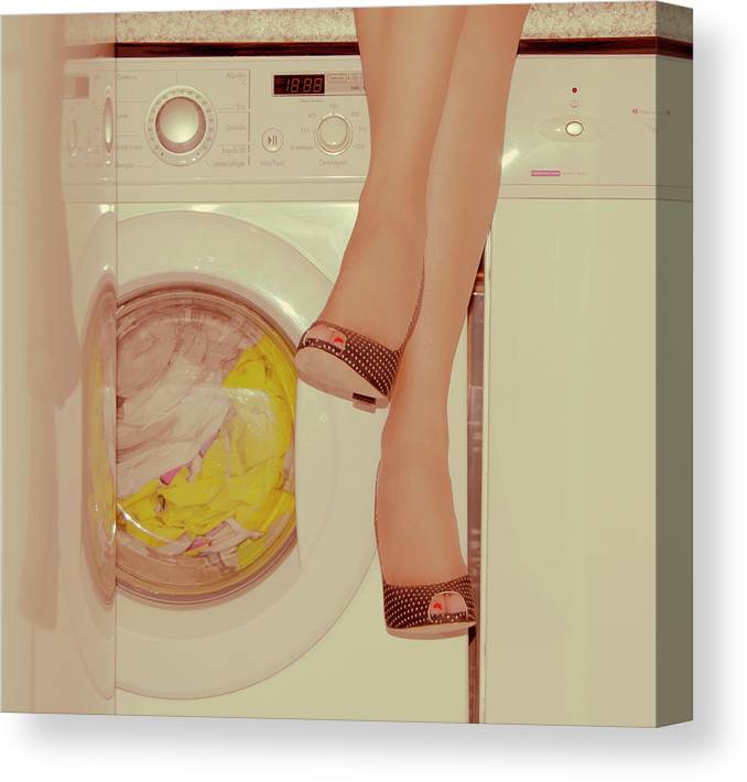 Laundromat Canvas Print featuring the photograph Vintage Laundry by © Angie Ravelo Photography