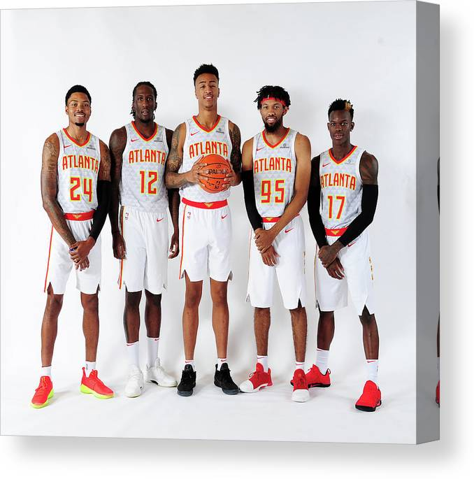 Atlanta Canvas Print featuring the photograph Kent Bazemore and John Collins by Scott Cunningham