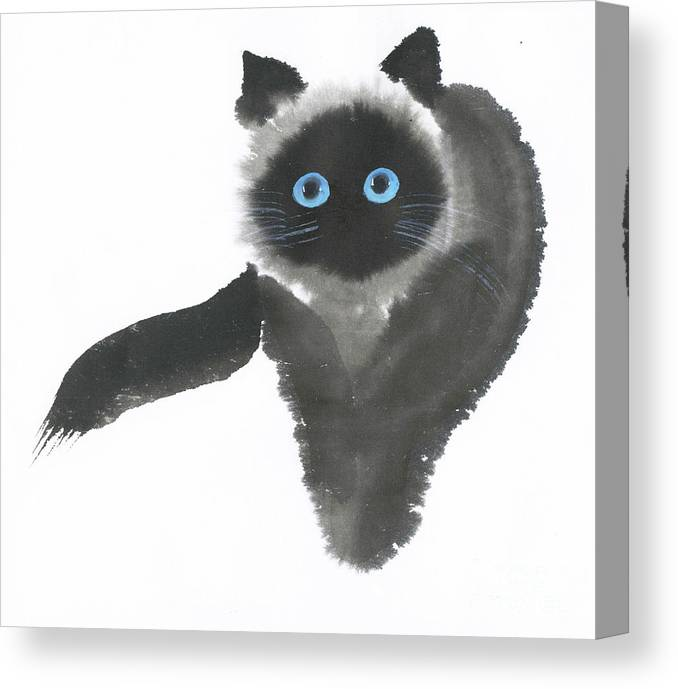 A Dignified Cat With Clear Eyes Is Starring Straight Ahead Intensely. It's A Contemporary Chinese Brush Painting On Rice Paper.  Canvas Print featuring the painting Clear-Eye by Mui-Joo Wee