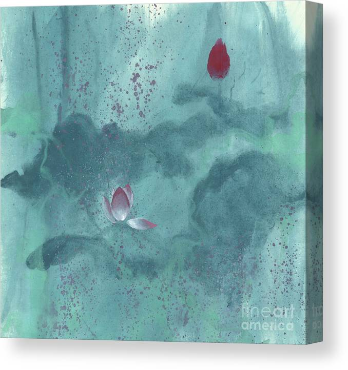 Emerged Out Of The Sludge Canvas Print featuring the painting For the Love of Lotus by Mui-Joo Wee