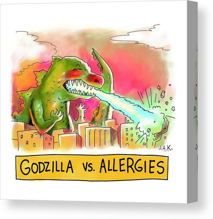 Captionless Canvas Print featuring the drawing Godzilla vs Allergies by Jason Adam Katzenstein