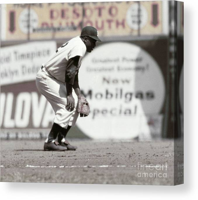 1950-1959 Canvas Print featuring the photograph Jackie Robinson by Robert Riger