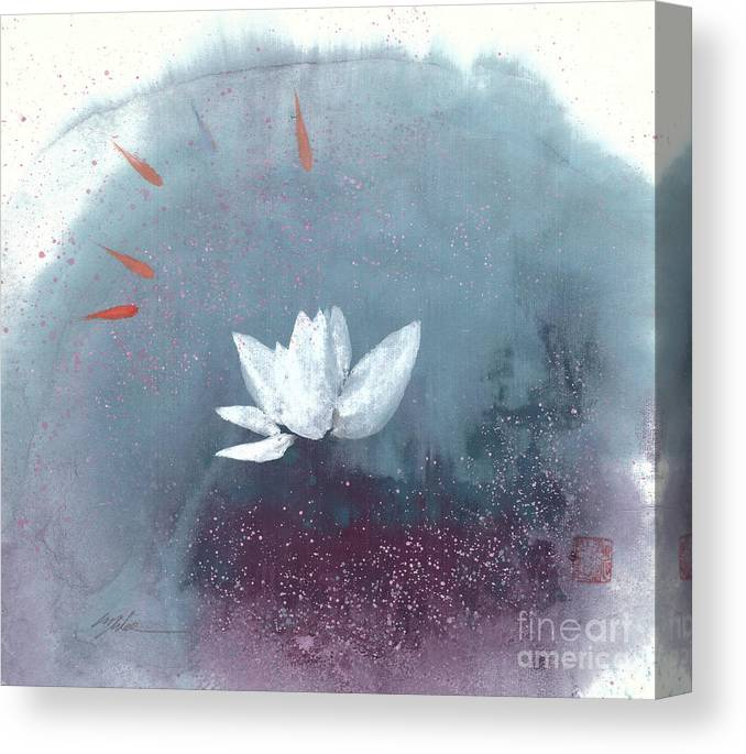 A Brilliant Lotus In A Pond With Delightful Fish. It's A Simple Chinese Brush Painting On Rice Paper. Canvas Print featuring the painting White Lotus IV by Mui-Joo Wee