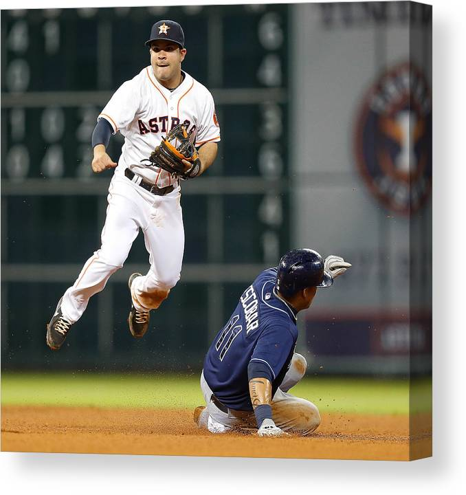 Double Play Canvas Print featuring the photograph Yunel Escobar by Bob Levey