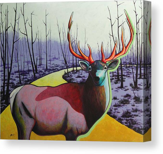 Wildlife In Yellowstone Park Canvas Print featuring the painting A Close Encounter in Yellowstone by Joe Triano