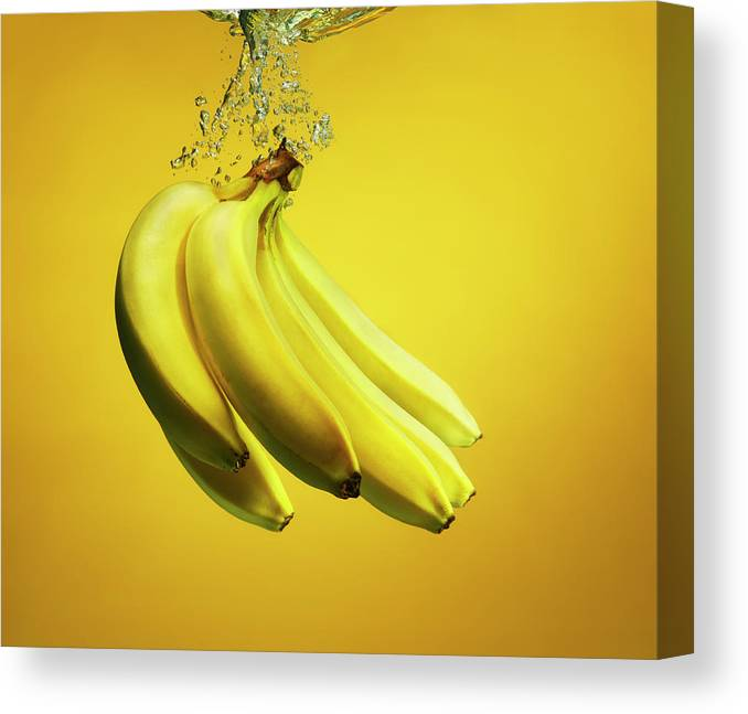 Copenhagen Canvas Print featuring the photograph Bananas Splashed Into Water by Henrik Sorensen