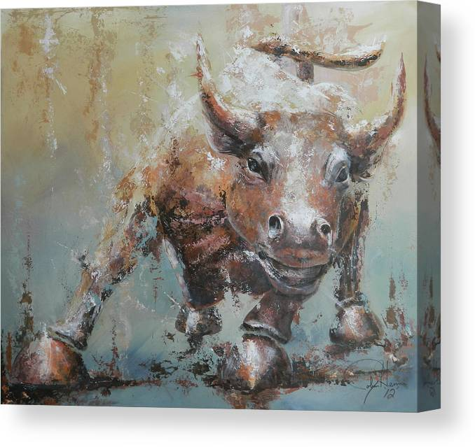 Abstract Canvas Print featuring the painting Bull Market Y by John Henne