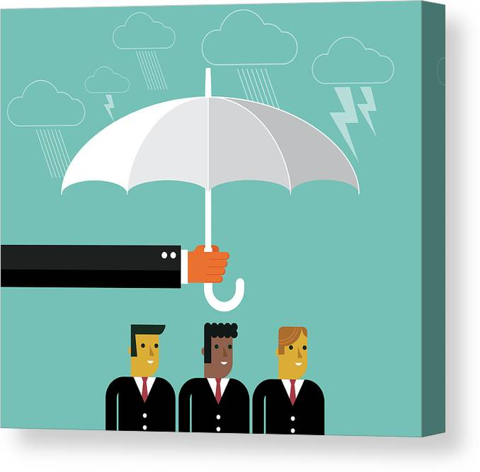 Problems Canvas Print featuring the digital art Businessmen Protection by Sorbetto