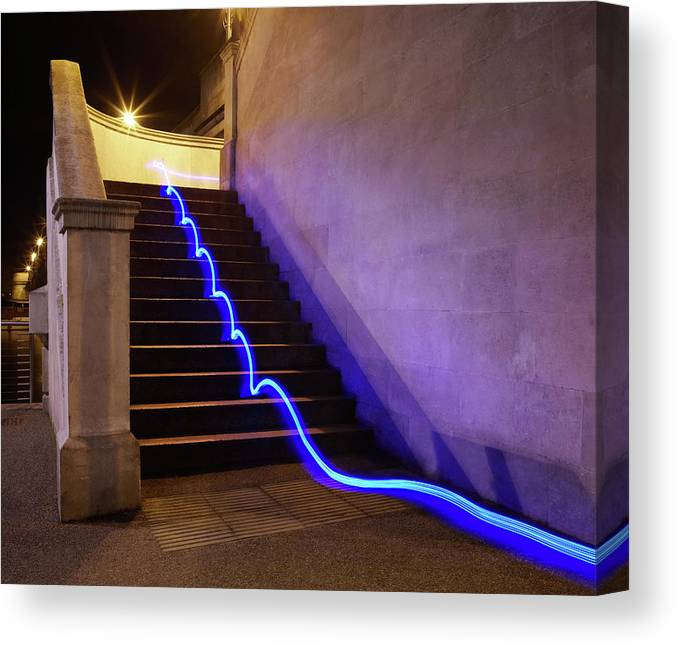 Steps Canvas Print featuring the photograph Light Trail On Steps by Tim Robberts