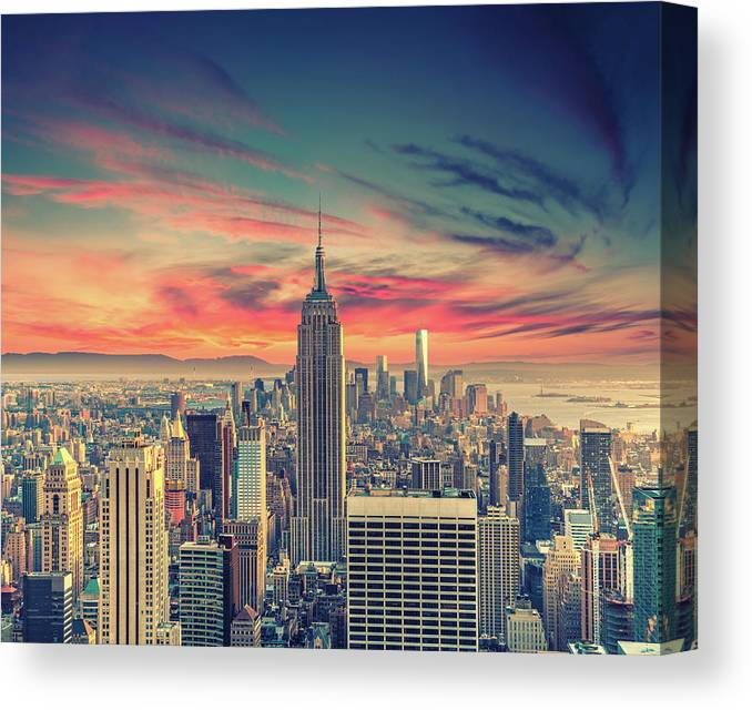 Panoramic Canvas Print featuring the photograph Manhattan by Zsolt Hlinka