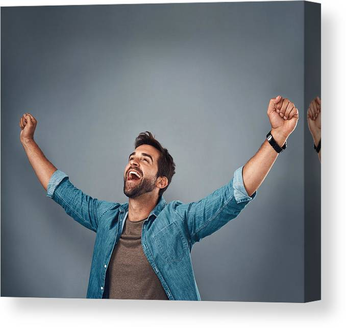 Young Men Canvas Print featuring the photograph The moment I've been waiting for! by PeopleImages