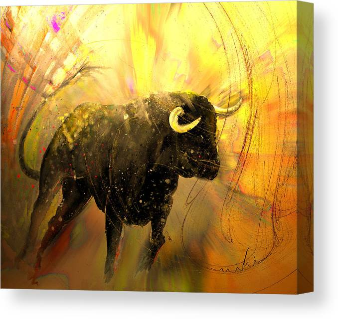 Animals Canvas Print featuring the painting Toro Solo 02 by Miki De Goodaboom