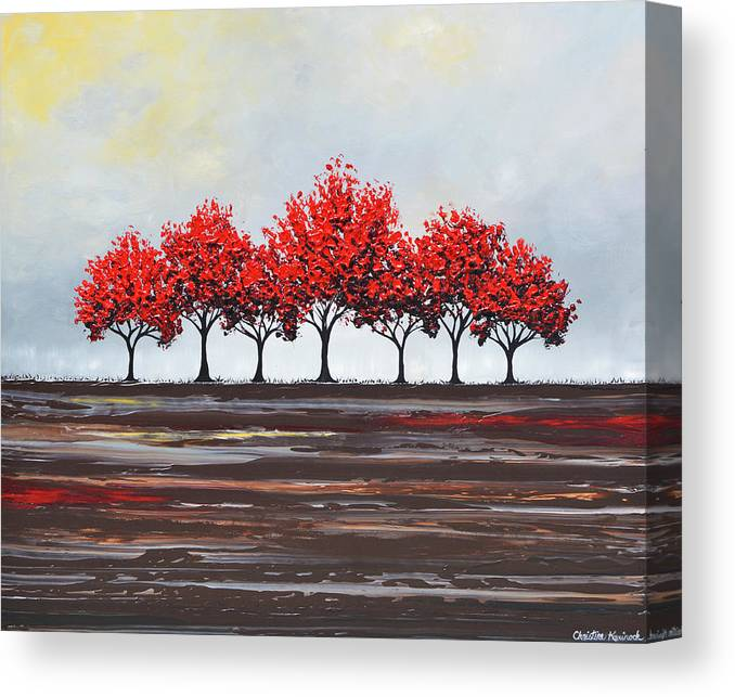 Red Canvas Print featuring the painting Unity - Red Trees by Christine Bell