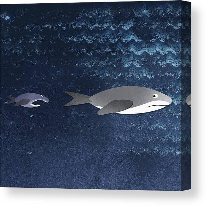 Horizontal Canvas Print featuring the digital art A Small Fish Chasing A Shark by Jutta Kuss