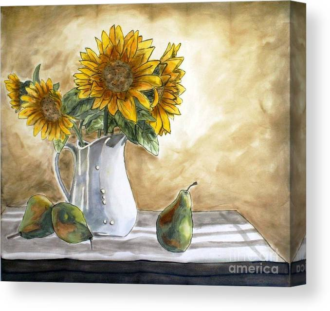 Silk Painting Canvas Print featuring the painting Sunflowers And Pears by Linda Marcille