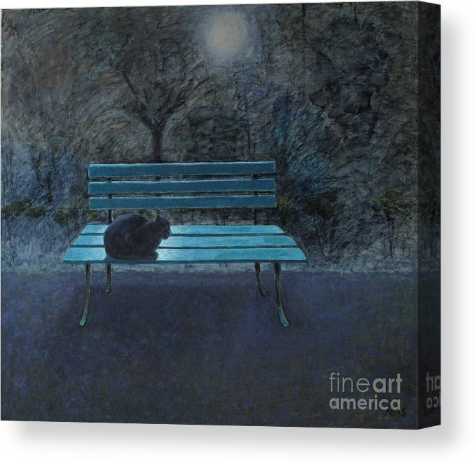 Black Cat Canvas Print featuring the painting Night in the Garden by Raimonda Jatkeviciute-Kasparaviciene
