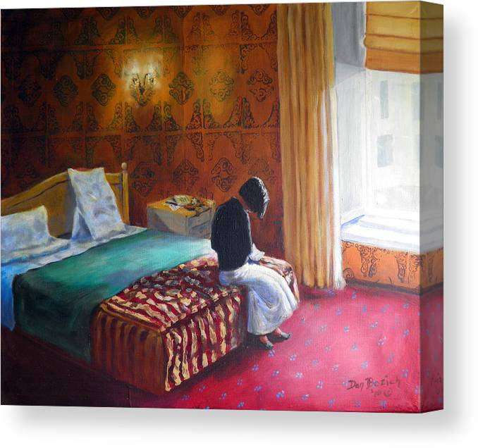 Small Hotel Room Interior Canvas Print featuring the painting Relais dei Papi Rome by Dan Bozich